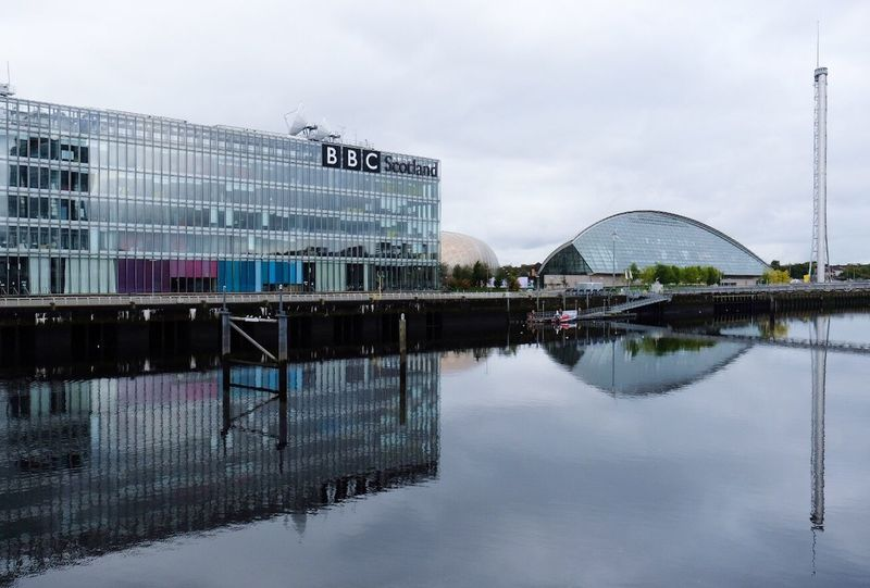 Architecture Built Structure Reflection Water Sky Building Exterior Cloud - Sky Day Outdoors No People Travel Destinations Modern Nature City BBC Scotland Pacific Quay Glasgow  River Clyde Glasgow Science Centre