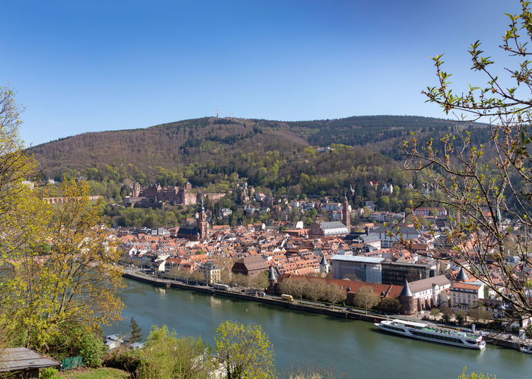 Heidelberg view of River Neckar and castle Heidelberg Heidelberg Castle Heidelberg Germany Architecture Building Exterior Sky Water Built Structure Plant Tree Nature No People Day Building Clear Sky Mountain City Residential District Blue Beauty In Nature Outdoors House TOWNSCAPE