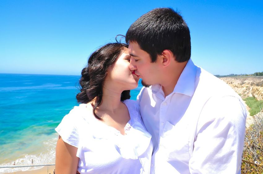 My Neice and her Husband. Couples Love Kissing Blue Skies Beachphotography Anonymousnate Capture The Moment
