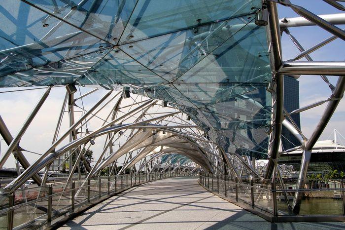 The Helix bridge a footbridge across the river at Marina Bay in Singapore Architecture Bridge Bridge - Man Made Structure Built Structure Close-up Day Footbridge Helix Bridge Metal Modern Architecture No People Outdoors Sky