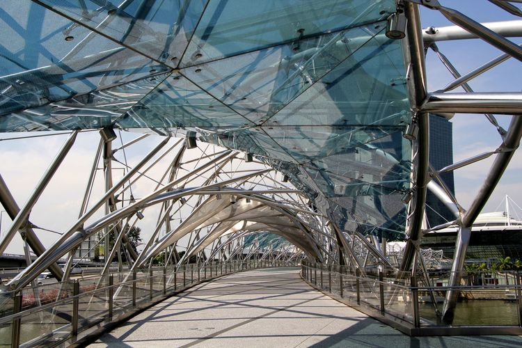 The Helix bridge a footbridge across the river at Marina Bay in Singapore Architecture Bridge Bridge - Man Made Structure Built Structure Close-up Day Footbridge Helix Bridge Metal Modern Architecture No People Outdoors Sky