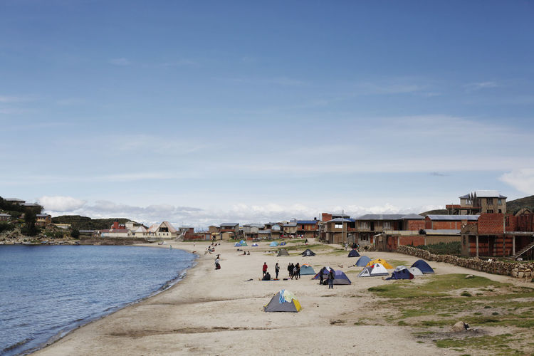 isla del sol, bolivia Campinglife Camping Titicaca Lake Camping Outdoor Lake Titicaca Bolivia Outdoors Crowd Lifestyles People Leisure Activity Cloud - Sky Sea Men Nature Real People Beach Group Of People Day Land Built Structure Building Exterior Architecture Sky Water