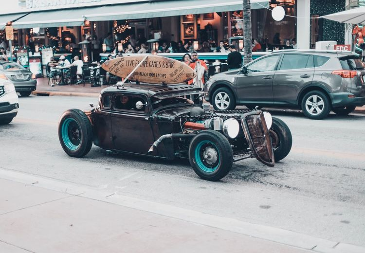 Vintage car on city street