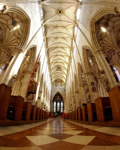 Low Angle View Fisheye Curch Cathedral Ulm Germany Place Of Worship Arch Ceiling Religion Architectural Column Architecture Historic Stained Glass Rose Window Catholicism Building History Architecture And Art Interior Altar Pipe Organ Archway Passageway Holiday Moments
