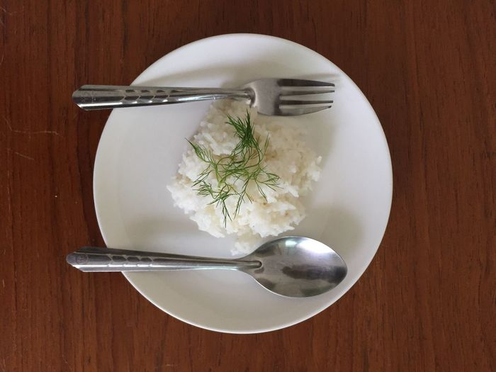Food Table Indoors  Plate Ready-to-eat No People Rice Spoon And Fork Lifestyles
