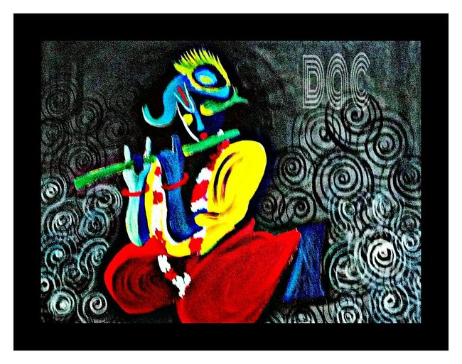 Hi! Check This Out Hello World Eyem Gallery Art Gallery Acrylic Painting Lord Krishna Canvas Imagination Musician Devotion Beauty Define Art India