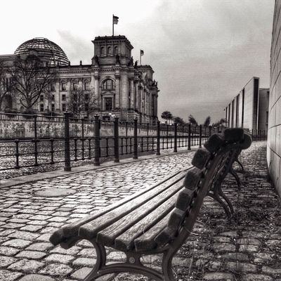 Berlin Blackandwhite Bnw Cloudy Taking Photos Enjoying The View Streetphotography Myberlin ReichstagBuilding Benches Come Sit With Me