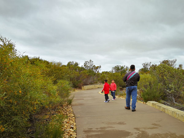 A babywearing father with his two children are walking on the pavement at Pinnacles National park in Western Australia. Travelling Asian Family Asian  Fatherhood Moments Tourist Exploring Asian  Australia Cervantes Family Perth Perth Australia Travel Travel Photography Traveling Travelling Western Australia Spring Springtime Travel Destinations Traveler Travelphotography Togetherness Walking Father Real People Childhood Bonding People Leisure Activity