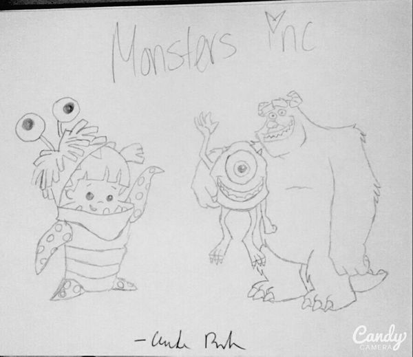 Monsters INC Mike Wazowski Sulley Boo ArtWork Pencil Drawing