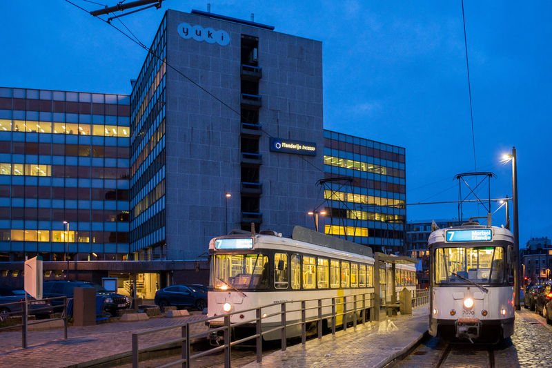 Antwerpen Architecture Building Exterior Built Structure City Illuminated Mode Of Transport Night No People Outdoors Public Transportation Rail Transportation Railroad Track Tramway Transportation