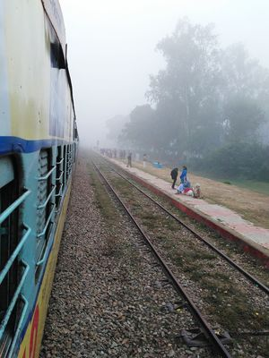 Fog Transportation Environment Outdoors Sky Nature Adult Rail Transportation People Happy To Travel Happy Time Some Hopes