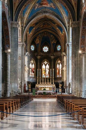 Interior view of church of Minerva in Rome Arch Architectural Column Architecture Built Structure Day Gothic Gothic Architecture Gothic Style History Indoors  Interior Italy Minerva No People Pew Place Of Worship Place Of Worship Religion Roman Rome Spirituality