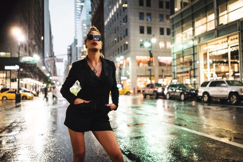 NYC Fashion Model Model City Architecture Street City Life One Person City Street Night Young Adult Building Exterior Transportation Front View Built Structure Wet Lifestyles Fashion Adult
