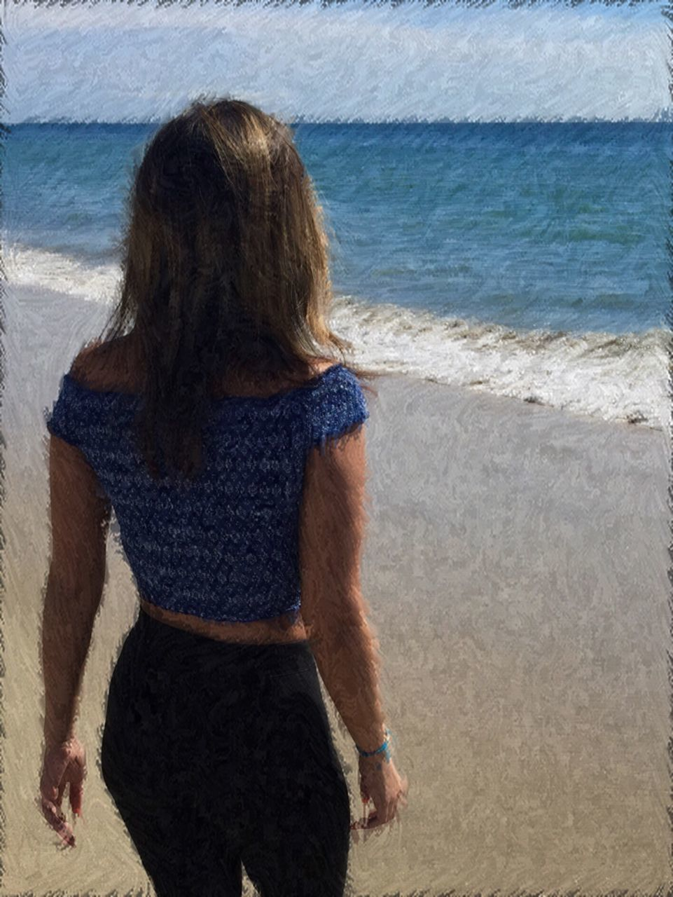 sea, beach, water, wave, rear view, shore, real people, sand, standing, one person, leisure activity, horizon over water, outdoors, day, nature, women, lifestyles, young adult, sky, people