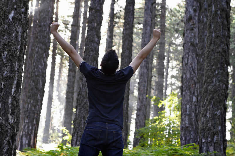 Victorious Man Celebrating in the Forest Man Male Guy Teenager Christian Christianity Prayer Meditate Religion Faith Born-again Spirituality Celebrate Forest Woods Victory Overcome Winner Breakthrough Happy Joy Rejoice Rejoicealways