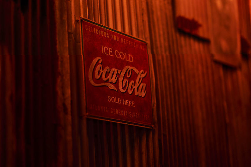 Night Lights Night Photography Nightphotography Red Sign Wall Wall Art Close-up Cocacola Night Night View Nightshot No People Old