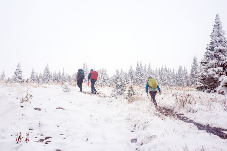 Rear View Of People Walking On Snow Covered Landscape