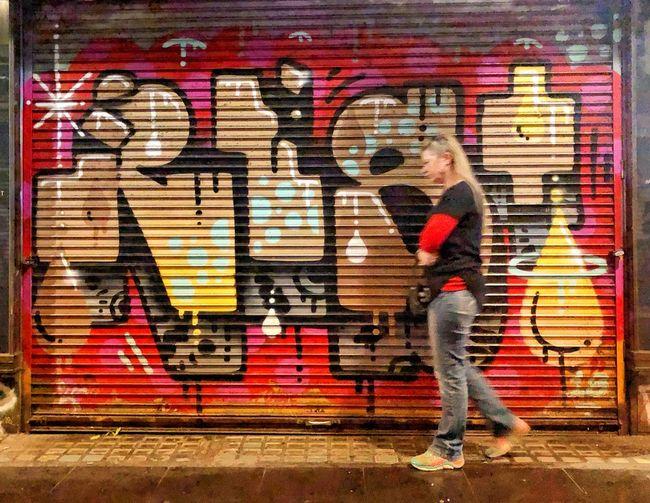 Side view of graffiti on wall