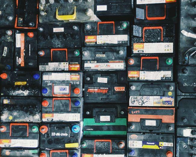 Full frame shot of car batteries