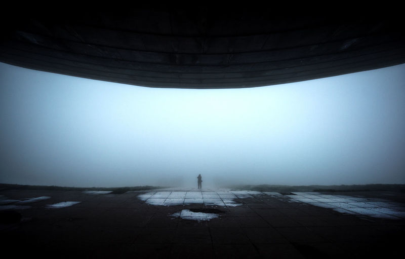 Rear view of man standing on pier against clear sky