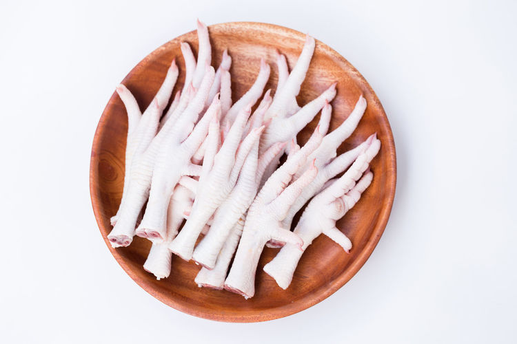 High angle view of bread in white background