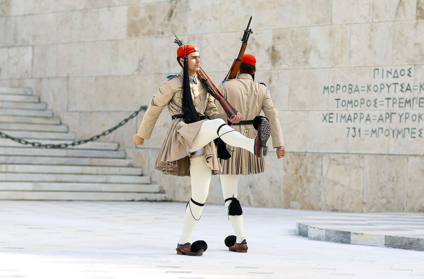 Change of the Greek guard, Syntagma Square, Athens Athens Ceremonial Changing Of The Guard Evzones Evzoni Fustanella Greece Greek Greek Guard Greek Soldier Hellenic Marching Outdoors Presidential Guard Soldier Syntagma Square Tomb Of The Unknown Soldier