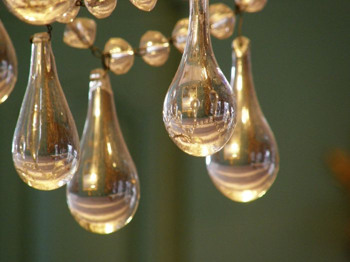 Chandeleer Chic Close-up Crystal Electricity  Hanging Illuminated Indoors  No People Shape Transparent