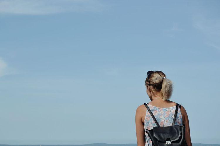 Women Water Sea Blond Hair Beach Summer Blue Clear Sky Girls Seascape Beach Holiday Horizon Over Water