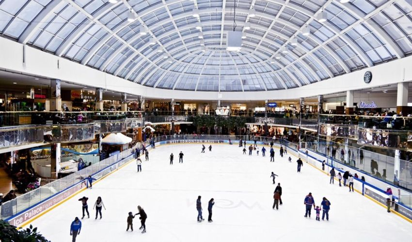Shopping Mall Large Group Of People Leisure Activity Ice Rink Fun People Winter Sport City Ice Crowd Outdoors