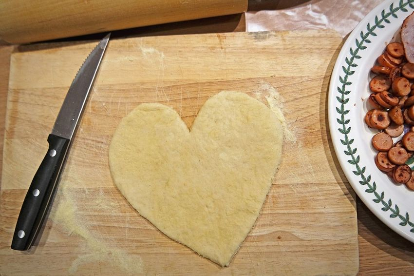 Visual Feast Pizza Heart Shape Wood - Material Love Food And Drink Indoors  Food Table Cookie No People Freshness Close-up Day
