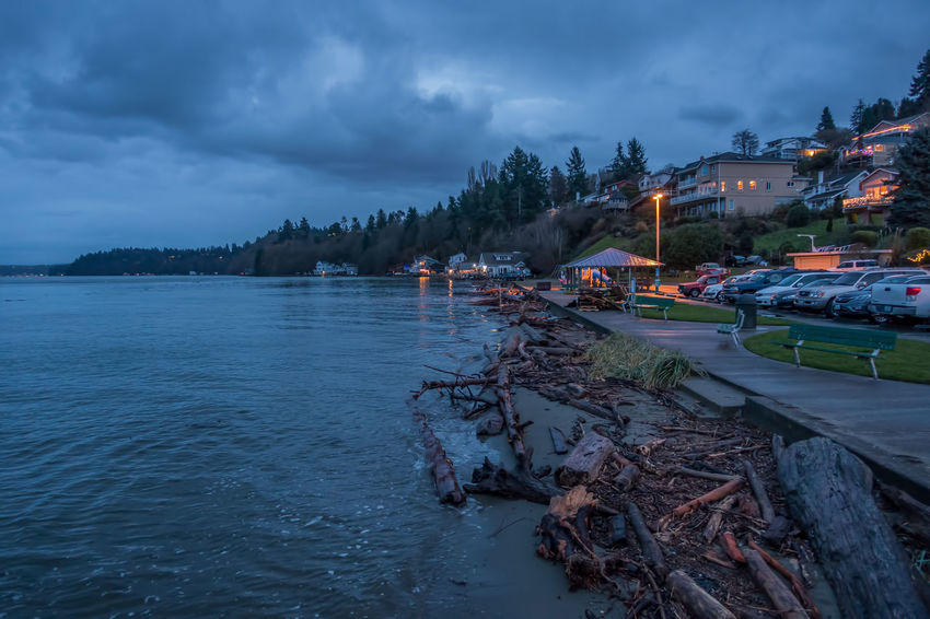 Darkness falls on Dash Point, Washington. Pacific Northwest  Architecture Building Exterior Built Structure Cloud - Sky Darkness And Light Dash Point Day Homes Mode Of Transport Moored Nature Nautical Vessel Night No People Outdoors Sea Sky Transportation Tree Water