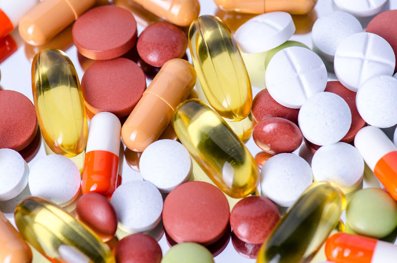 Close-up of colorful medicines