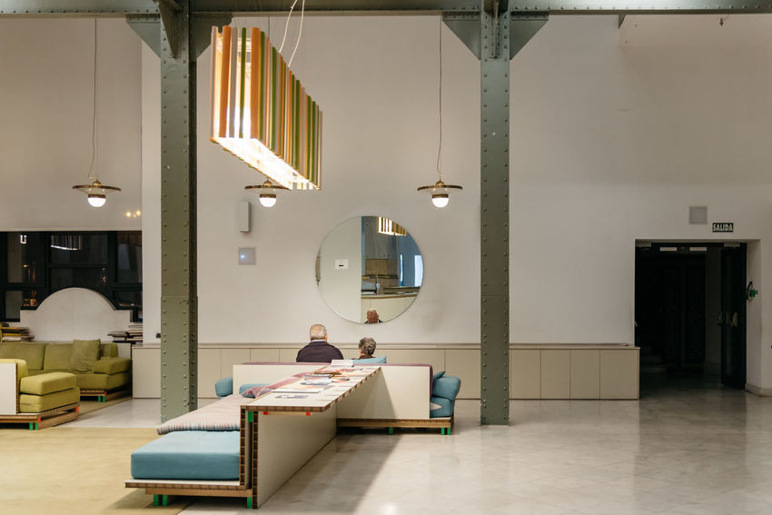 Reading lounge in Cibeles Palace in Madrid Architecture City Hall Coworking Madrid Modern Architecture Reading Time Architecture Centrocentrocibeles Cibeles Coworkers Culturre Home Showcase Interior Illuminated Indoors  Interior Luxury Networking People Reading Room Sky