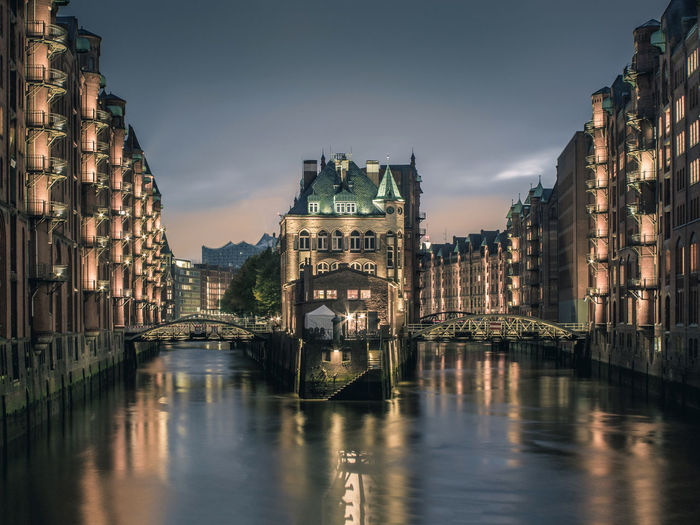 the top view from Hamburg Hamburg Architecture Bridge - Man Made Structure Building Exterior Built Structure City Cityscape Elbe Fleetschlösschen Illuminated Long Exposure Night No People Outdoors Reflection River Sky Speicherstadt Travel Destinations Warehouse Water Waterfront