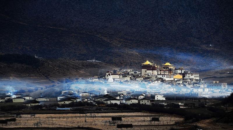 Wonderland The Songzanlin Monastery Temple Smoke From Kitchen Chimneys Mountain Valley Wonderland