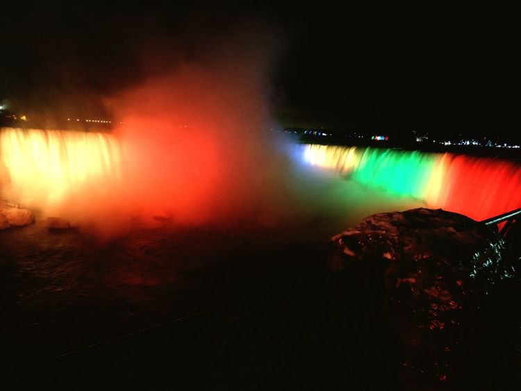 niagara at night Niagara Falls Waterfalls Night Power In Nature Illuminated Nightlife Heat - Temperature Lava Sky