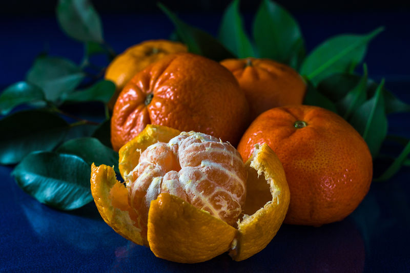 Still life which consists of citrus fruits mandarin