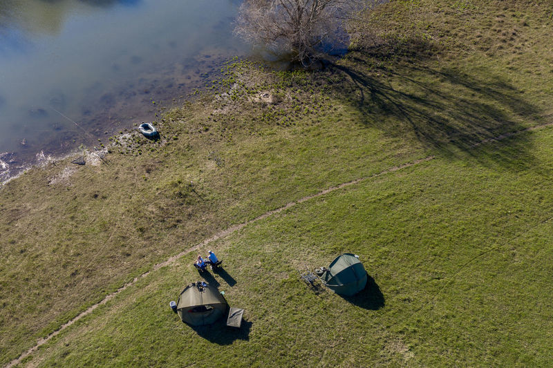 impressions from rural area, first spring days Day Nature Outdoors Dronephotography Aerial View Green Color Water High Angle View Land People Plant Grass Activity Tent