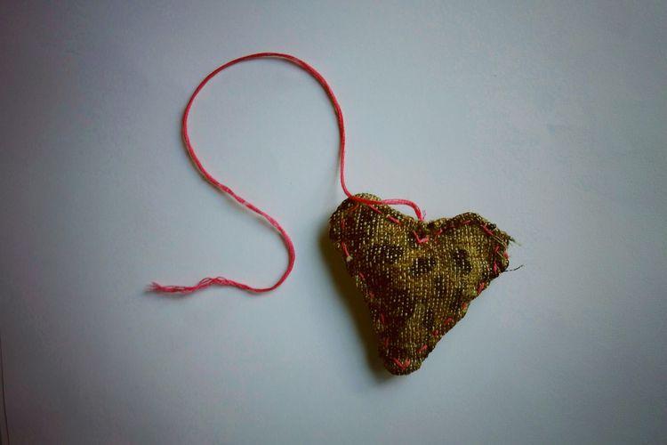 Handmade Handsewn Heart on a String Leopard Print