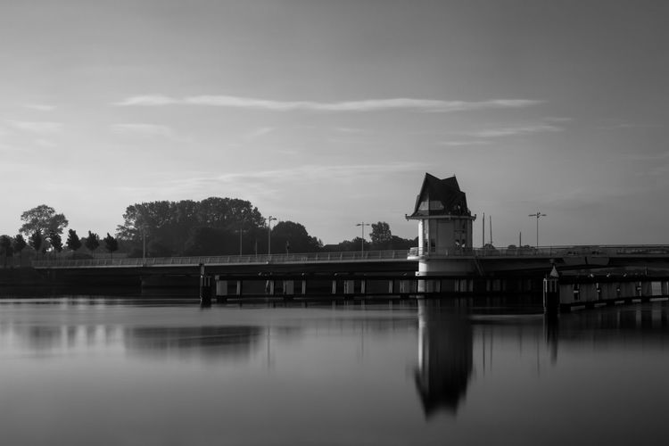 Bridge in Kappeln, North Germany Architecture Bridge Bridge - Man Made Structure First Light Long Exposure No People Outdoors Reflection Silence Sky Smooth Water Sunrise Tranquility Water Water Reflections Water Surface Blackandwhite Black And White Black & White