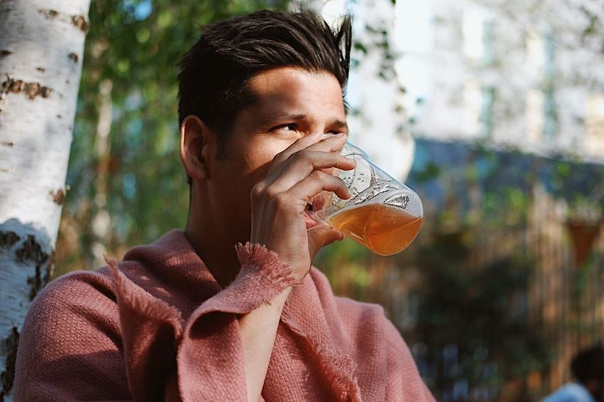 Drinking beer, seriously Drinking Headshot Outdoors Leisure Activity Portrait Only Men Adult Beer Drinking Beer Alcohol Handsome