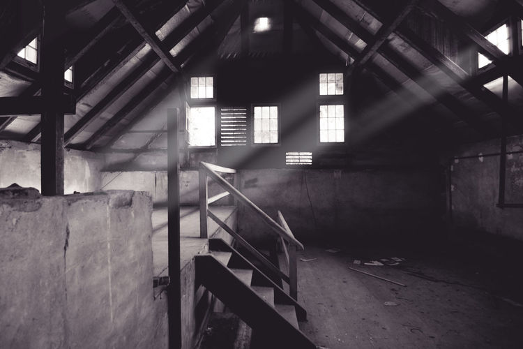 under the roof - lost place - child psychiatry Roof Psychiatric Hospital Psychiatry Window Windows Lights Lights And Shadows darkness and light Darkness Urban Exploration Urbex Urbexphotography Urban Decay Decay Old Buildings Rotten Urbanexplorer Urban Exploring Blackandwhite Black And White Black & White Bnw Bnw_collection Bnw_captures Bnw_society Bnw_worldwide Bnw_planet Indoors  Abandoned Architecture Built Structure Prison No People Day The Traveler - 2018 EyeEm Awards The Architect - 2018 EyeEm Awards 10