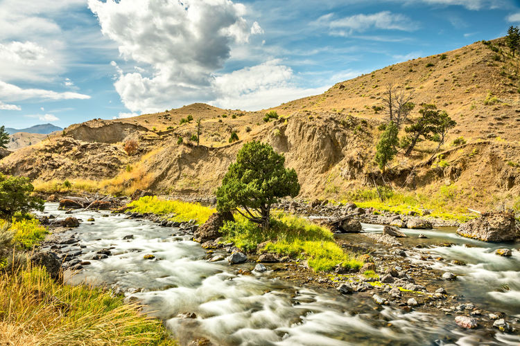 The firehole river along the firehole canyon road in yellowstone national park, wyoming