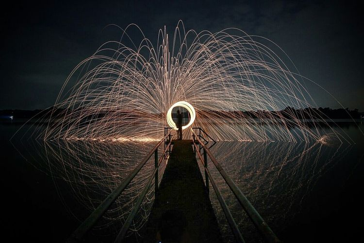 Steelwool Long Exposure Light Trails Reflection