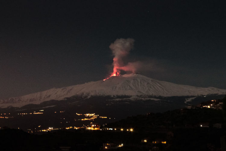Catania Mountain Volcano Smoke - Physical Structure Erupting Night Geology Power In Nature Sky Power No People Land Active Volcano Nature Beauty In Nature Environment Cold Temperature Illuminated Scenics - Nature Landscape Outdoors Volcanic Crater Mountain Peak Pollution Snowcapped Mountain Air Pollution