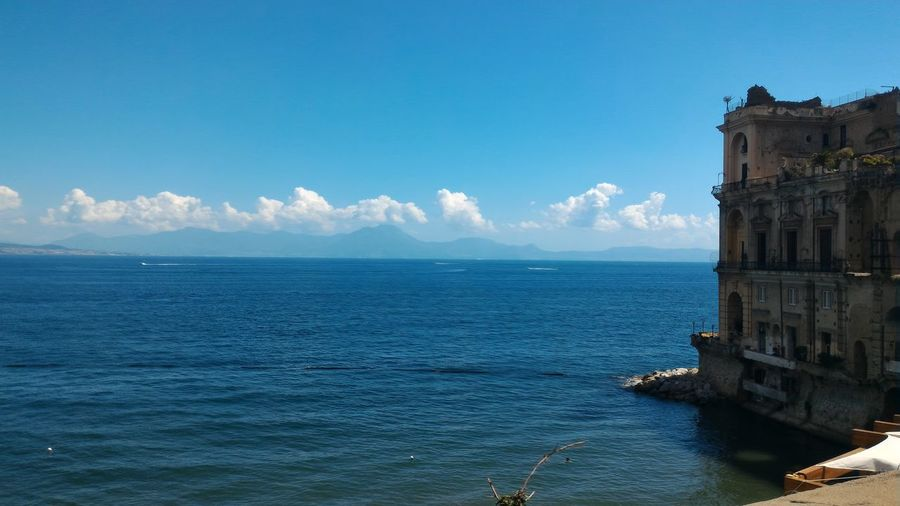 No Filter, No Edit, Just Photography NoFilterNoEdition Point Of View Italy🇮🇹 Naples Sea And Sky Palazzo Donnanna Blue Sea Architecture No People Tranquility Travel Destinations Beautiful View Monuments & Statues
