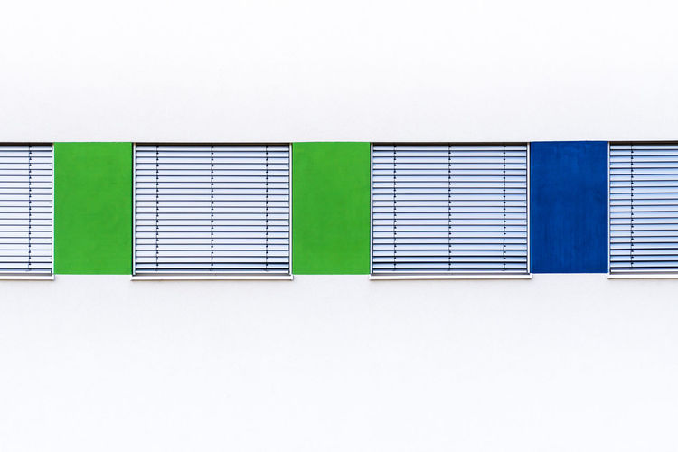 Krull&Krull Images Berlin Photography Modern Architecture Architecture Backgrounds Blind Shutters Blue Building Exterior Built Structure Close-up Closed Copy Space Day Green Color Jalousie Minimalism Minimalistic Minimalobsession Multi Colored No People Outdoors White Background Windows