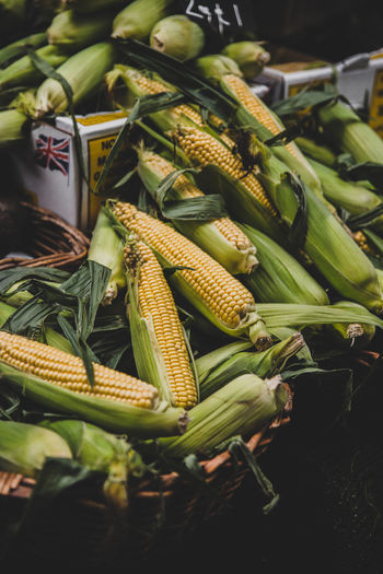 Food And Drink Vegetable Food Healthy Eating Freshness Wellbeing Green Color Corn Raw Food For Sale Market No People Market Stall Close-up Retail  Corn On The Cob Sweetcorn Still Life Container High Angle View