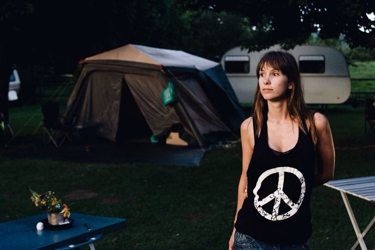 Pretty Girl Camping Peace Hippie