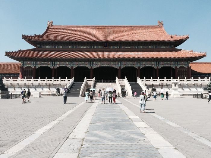 Tourist at forbidden city palace against clear sky